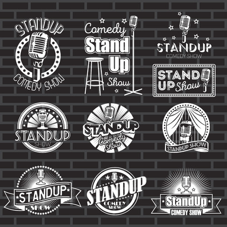 Set of standup comedy show white labels and logos with black background. Vector badges and stickers