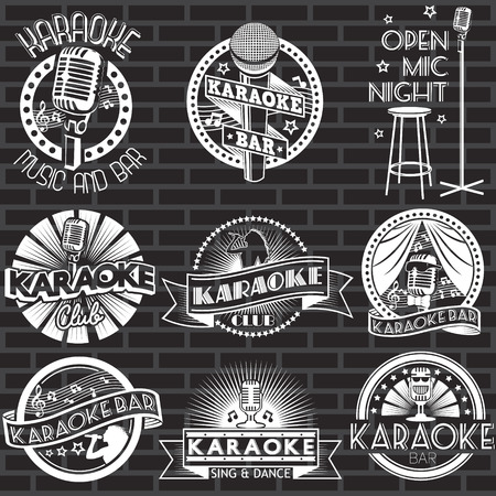 Set of karaoke club white labels and logos with black background. Vector badges and stickers Illusztráció