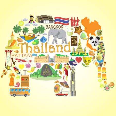 Elephant Thai. Impostare le icone vettoriali e simboli della Thailandia Vettoriali