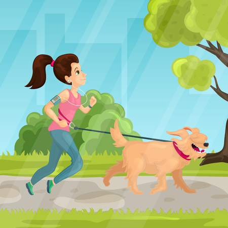 Walk in city park vector illustration in flat style Illustration
