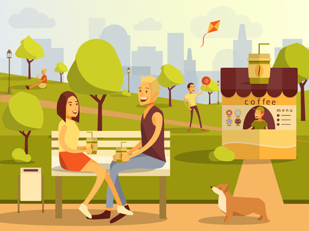 Vector flat illustration of couple taking rest in city park