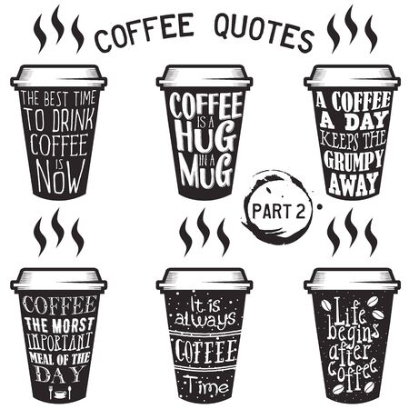 great coffee: Vector coffee quotes and sayings typography set