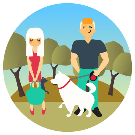 Man and woman met in a park while walking out dogs. Vector cartoon people characters in flat style design. Cute dogs with their owners.