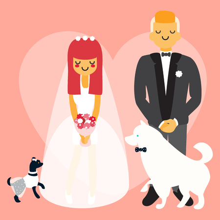 akita: Wedding couple with dogs. Vector cartoon people characters in flat style design.