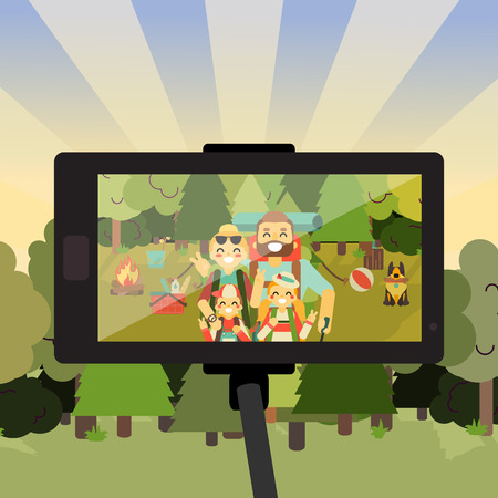 photo people: Cartoon people characters in forest taking selfie photo on their smartphone. Happy family go camping. Vector illustration in flat style design. Parents and kids with backpacks on holiday.