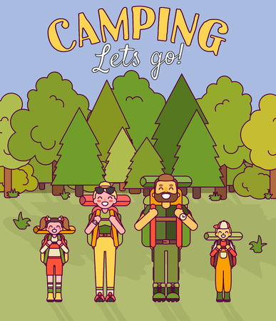 Happy family go camping. Vector illustration in flat style design. Cartoon people characters in forest. Parents and kids with backpacks on holiday