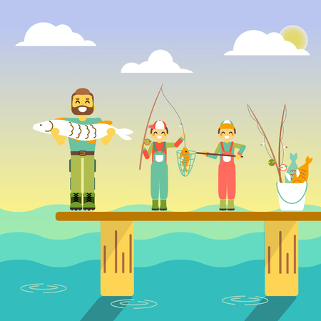 Happy family go fishing. Vector illustration in flat style design. Cartoon people characters fishing in sea. Parents and kids on a pier with fishing rods on holiday