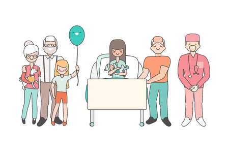 Woman in hospital with newborn baby. Vector illustration in linear style design. Cartoon people characters in patient room. Relatives and doctors congratulate girl who just gave birth. Family concept.  イラスト・ベクター素材