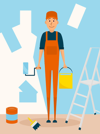 paintroller: Craftsman worker paint the wall. Vector cartoon character in flat style design. Painter man holds paintroller and paint bucket