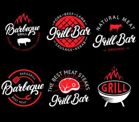 Vector set of grill bar and bbq labels in retro style. Vintage grill restaurant emblems, logo, stickers and design elements. Collection of barbecue signs, symbols and icons. Black and red color style.