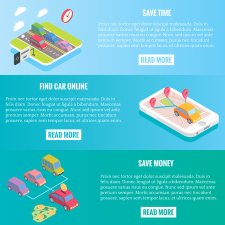 Carpool service concept banners in isometric style design. Vector flat 3d icons. People sharing cars. Mobile smartphone to share ride and use carpooling HOV lane.