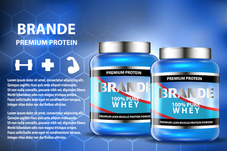 gainer: Sport nutrition product containers ad. Weight gainers set. Whey protein bottles. 3D vector product packaging. Jars of bodybuilding food supplements