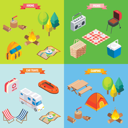 Camping objects in vector isometric style Flat 3d isometric design Family vacation, hiking, picnic, car travel; Camp place in forest. Isolated icons and template design Vettoriali