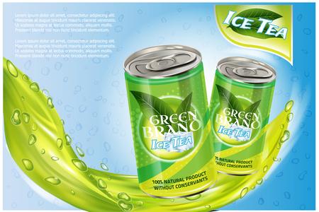 Ice tea products ad. Vector 3d illustration. Soft drink aluminium can template design. Green tea bottle advertisement poster layout Illustration