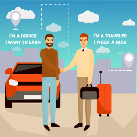 Carpooling concept vector illustration in cartoon style. Carpool and car sharing service poster. Two men shaking hands in front of the car Vettoriali