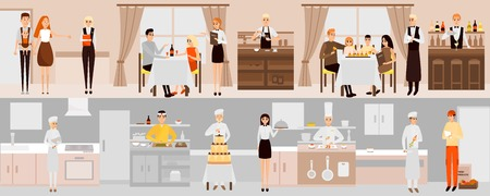 Vector banners with restaurant interior. People having dinner in restaurant. Cartoon characters. Chefs cooking food in kitchen room. Vector illustration in flat design