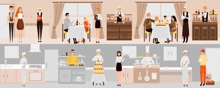 Vector banners con el interior del restaurante. Gente que cena en restaurante. Personajes de caricatura. Cocineros que cocinan el alimento en sitio de la cocina. Ilustración vectorial en diseño plano Foto de archivo - 80893217