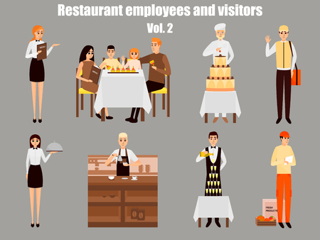 Restaurant workers cartoon characters, People work in restaurant isolated, Family having dinner in cafe; Vector illustration in flat style design