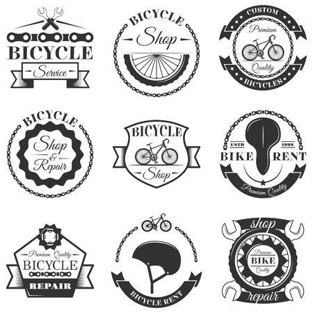 Vector set of bicycle repair shop labels and design elements in vintage black and white style. Bike logo