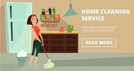 Vector home cleaning service concept banner Ilustracja