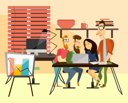 woman laptop: Office team concept vector illustration