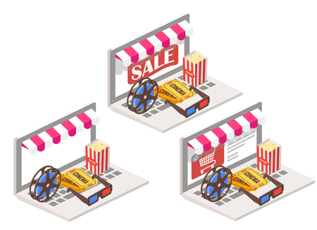 Cinema online 3d isometric vector illustration. Movie theater symbols popcorn, 3d glasses, tickets and film reel placed on laptop keyboard. Illustration