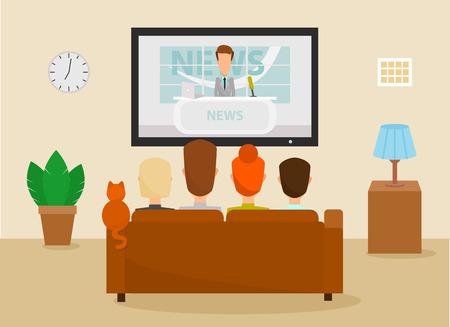 Familia con el gato viendo el programa de noticias diarias de la televisión que se sienta en el sofá en el país en la sala de estar. Ilustración vectorial en un estilo de dibujos animados
