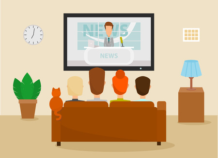 Family with cat watching TV daily news program sitting on the couch at home in the living room. Vector illustration in a cartoon style