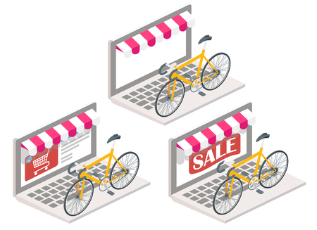 sports equipment: Bicycle online vector illustration. 3d isometric bike on laptop keyboard. Online shopping, e-commerce concept design elements isolated on white background.