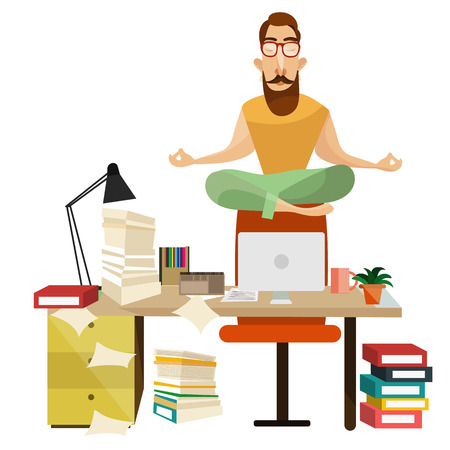 meditation man: Vector illustration of office worker male sitting on chair back in lotus position and relaxing. Office meditation concept design element.