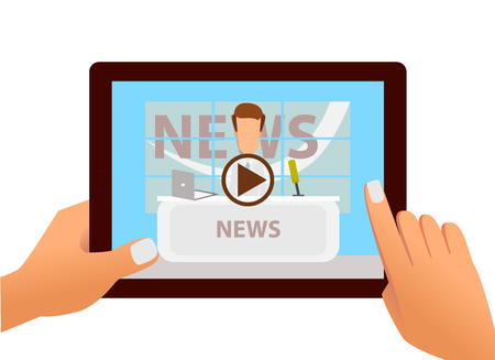 smartphone: Tablet with online video of breaking news on screen in hands. Vector illustration of web online news and video live stream Illustration