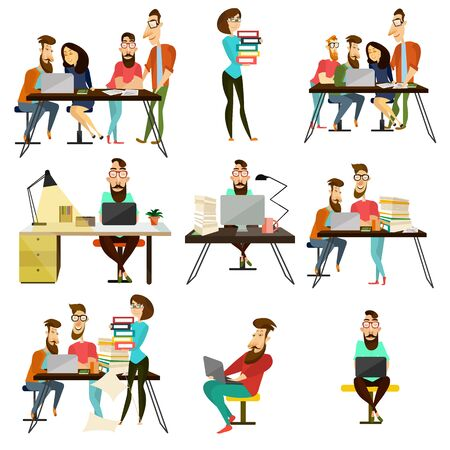 woman laptop: Vector set of office team characters icons. People using laptops and working with documents. Flat style design elements isolated on white background. Stock Photo