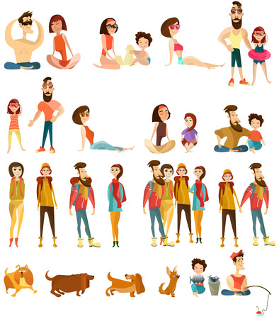 Vector set of tourist people cartoon characters isolated on white background. Families with pets, loving couples, friends going hiking, camping, sunbathing, fishing, flat style design elements, icons. Illustration