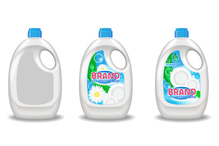 drop water: Dishwashing liquid products ad. Vector 3d illustration isolated on white background. Bottle template design. Dish wash brand bottle advertisement poster layout. Illustration