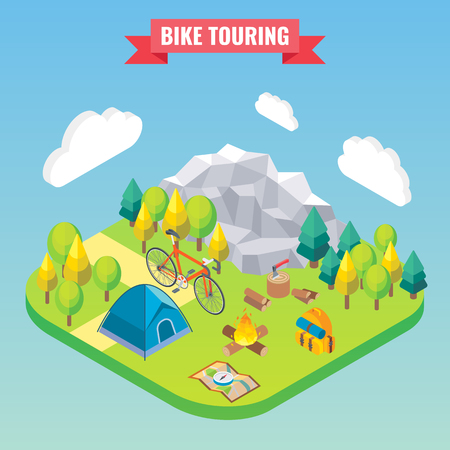 Bike touring isometric concept. Travel and camping vector illustration in flat 3d style. Outdoor camp activity. Travel on bicycle