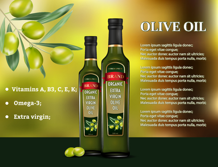 Olive oil products ad. Vector 3d illustration. Cooking olive oil glass bottle template design. Oil bottle advertisement poster layout