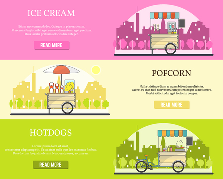 Vector set of tricycle street food bike horizontal flat banners