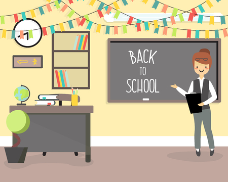 plant stand: Back to school concept vector illustration in flat style