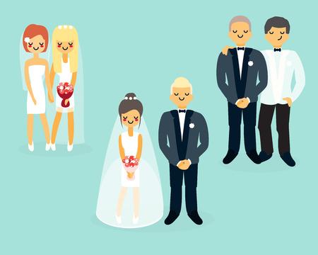 Vector flat wedding characters icons set Illustration