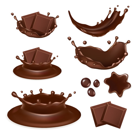 spot: Vector set of chocolate form icons isolated on white background. Tasty pieces of chocolate bar, molten chocolate, liquid chocolate splashes and drops. Illustration
