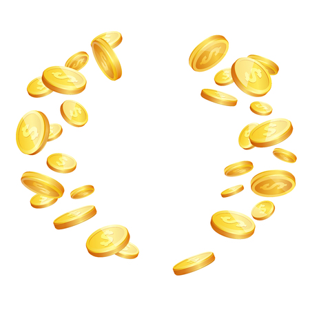 cash: Vector illustration of realistic 3d golden coins with dollar sign. Falling gold coins isolated on white background.