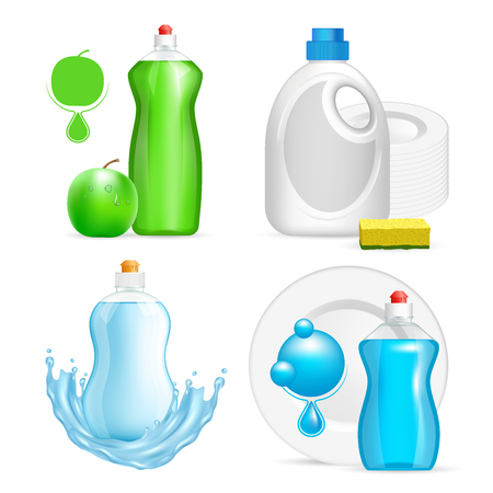A Vector set of realistic dishwashing liquid product icons isolated on white background. Plastic bottle label design. Washing-up liquid or dishwashing soap brand advertising templates.