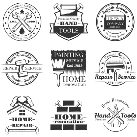 Vector set of vintage home repair labels, badges and logos Çizim