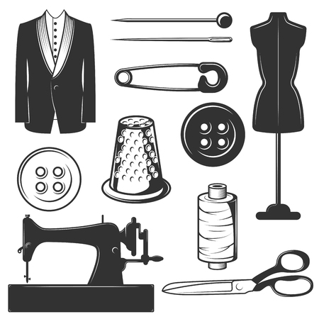 A Vector set of vintage tailor symbols, icons isolated on white background. Black templates for logos and print.