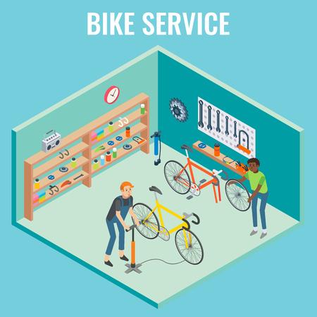 Vector 3d isometric bike service concept illustration Çizim