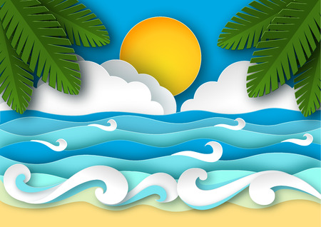 papercraft: Sea waves and tropical beach in paper art style. Travel concept vector illustration. Summer vacation poster in paper cut design.
