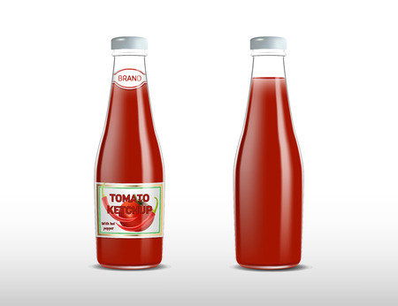 ketchupKetchup products ad. Vector 3d illustration. Spicy tomato ketchup bottles template design and mockup. Sauce brand packages advertisement poster layout. Full glass bottles