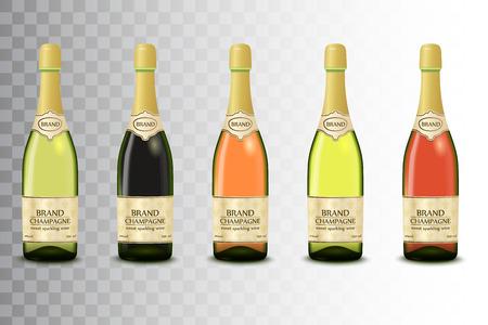 champagne celebration: Vector set of different champagne wine bottles on transparent background.
