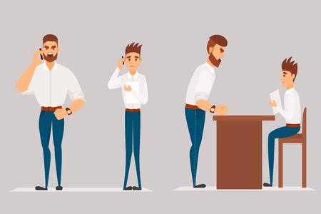 Vector de dibujos animados Ilustración de hombre enojado regaños trabajador. Personaje de jefe de hombre grita en el trabajador. Foto de archivo - 86097227