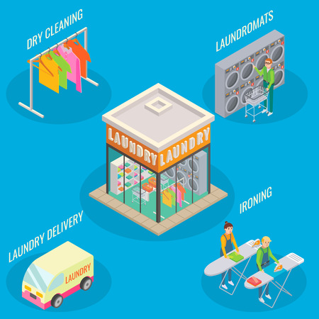 Laundry service vector flat 3d isometric illustration. Laundry room and dry cleaning.